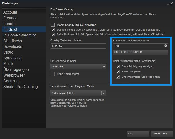 Steam Screenshot Tastenkombinationen